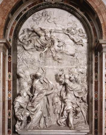 Pope Leo driving Attila from the Gates of Rome, a relief sculpture by Algardi .