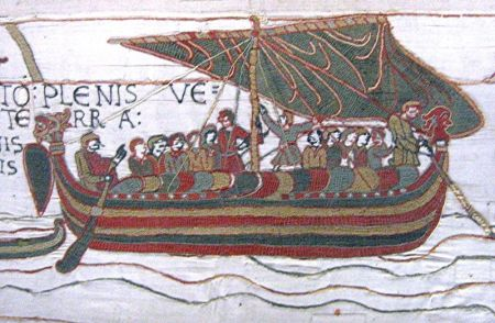 A scene from the Bayeaux Tapestry.