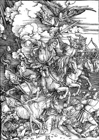 The Four Horsemen of the Apocalypse, one of 15 prints depicting scenes from the Book of Revelation in Albrecht Dürer's Apocalypse.
