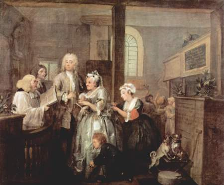 Hogarth's A Rake's Progress: Scene 5, in which Tom marries a rich old maid.