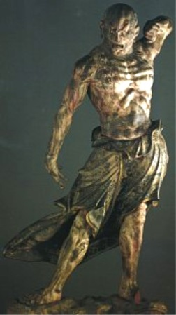 This is one of a pair of muscular figures set in front of the Kofuku-ji Temple to protect the Buddha.