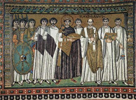 A mosaic depicting Emperor Justinian (center) at San Vitale Church in Ravenna.