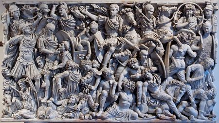 Relief sculptures on the Ludovisi Sarcophagus depict a battle between the Romans and the Goths.