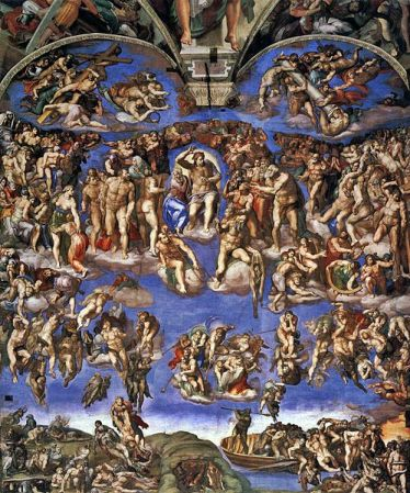 The Last Judgment altar wall fresco from the Sistine Chapel.