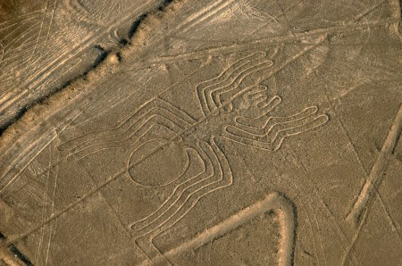The Nazca people created enormous drawings in the desert, including this spider.