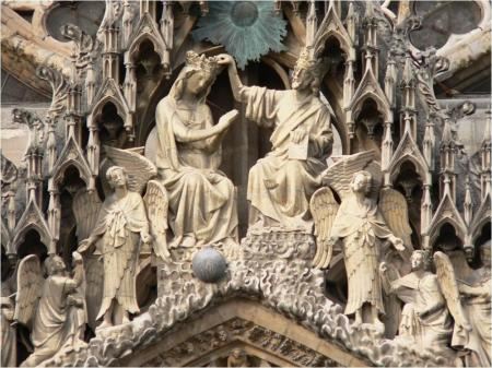 Detail from the relief sculptures decorating Reims Cathedral.
