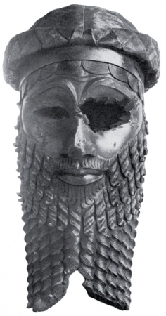 An carved Akkadian head, possibly of Sargon.