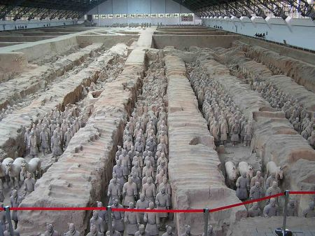 Some of the life-sized warriors of the Terracotta Army.