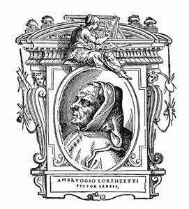 Portrait of Ambrogio Lorenzetti from 1568 edition of Vasari's Lives.