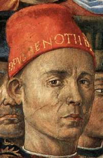 Self-Portrait of Benozzo Gozzoli in The Procession of the Magi (1459-1460).