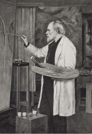 Photogravure by Frederick Hollyer (1900) of an 1898 portrait of Edward Burne-Jones by his son, Philip Burne-Jones.