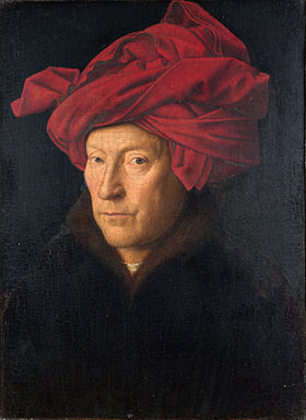 Probable self-portrait of Jan van Eyck - Portrait of a Man in a Red Turban.