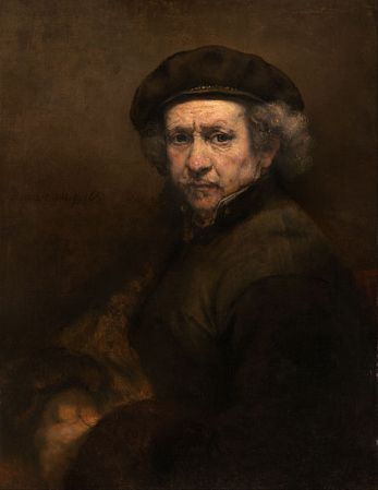 Self-Portrait with Beret and Turned-Up Collar, by Rembrandt van Rijn (1659).