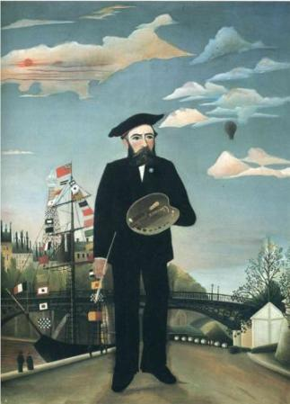 Self-Portrait from L'ile St. Louis, by Henri Rousseau (1890).