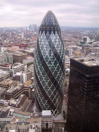 "The shape of Norman Foster's London skyscraper has led to the nickname, ""The Gherkin."""