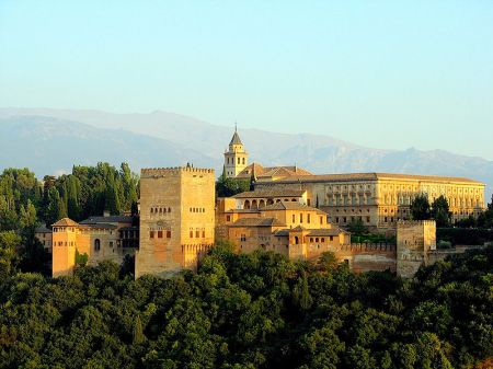 A view of the complex of buildings that make up the Alhambra in Granada, Spain.