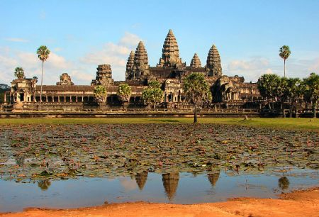 A view of the massive complex at Angkor Wat in Cambodia.