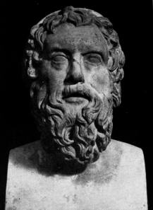 Marble bust of Aristophanes.