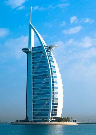 Burj al-Arab is a hotel shaped like a sail, built on its own man-made island.