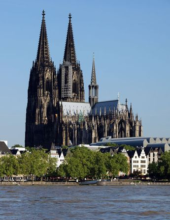 Cologne Cathedral, with the Rhine River in the foreground.