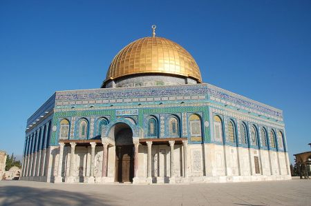 The Dome of the Rock is built on the spot where it is believed that Abraham nearly sacrificed his son Isaac, and where the prophet Mohammed ascended into heaven with the angel Gabriel.