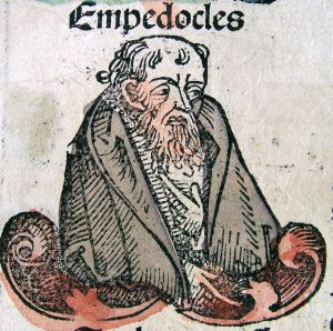 A late 15th Century engraving of Empedocles from the Nuremburg Chronicle.