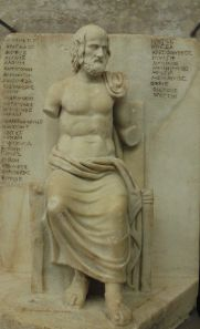 Roman marble statue of Euripides, 2nd Century CE, now in the Louvre in Paris.