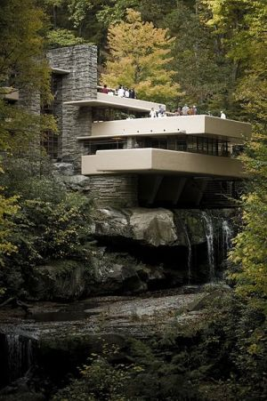 The Frank Lloyd Wright-designed residence, Fallingwater, has many Japanese influences.