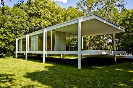 The Farnsworth House, now a museum, was originally built as a weekend retreat for Dr. Edith Farnsworth.