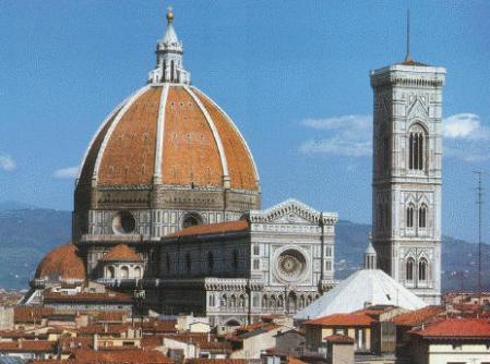 The Duomo dominates the skyline of Florence, Italy.
