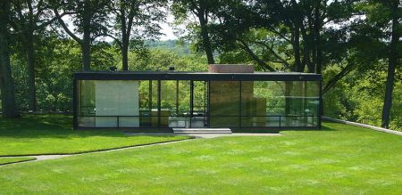 Philip Johnson's revolutionary statement, the Glass House. Presumably no stones are permitted in the building.