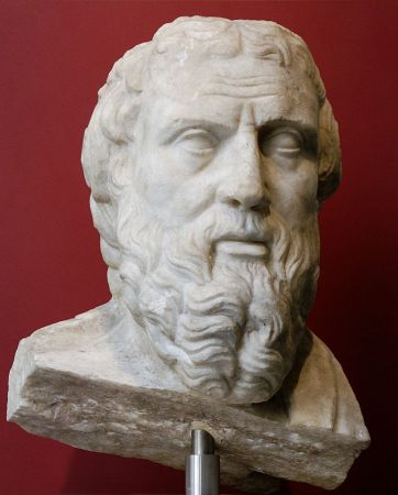 Portrait of Herodotus, marble, Roman copy of an early 4th Century BCE Greek original. Now in the National Museum of Rome.