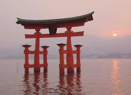 At high tide, the torii, or gateway, appears to be floating in the sea.