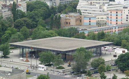 An aerial view of the Neue Nationalgalerie, a Berlin art museum.