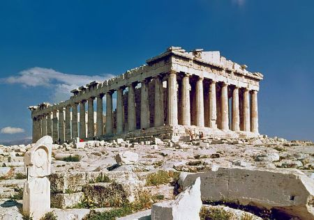Located on the Acropolis, the Parthenon was a temple to Athena, the patron goddess of Athens, and is a prime example of the Doric architectural order.