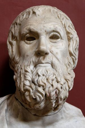 Marble bust of Sophocles. Roman copy of 4th Century BCE Greek original, now at the Museo Pio-Clementino in Rome.