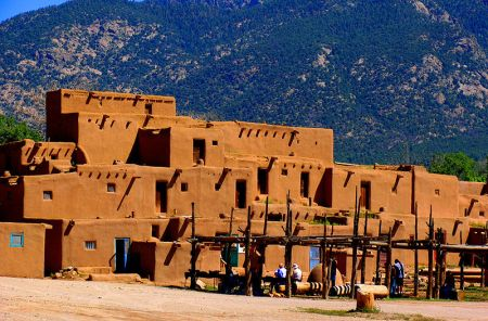 A view of the Taos Pueblo, in New Mexico, which may be the longest continuously inhabited communities in the United States.