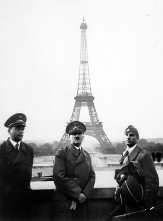 Hitler in Paris with Albert Speer.