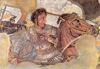 Portrait of Alexander the Great from floor mosaic found in Pompeii, Italy, dating from 100 BCE. Now in Naples National Archaeological Museum.