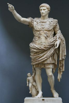 A statue of Augustus from the 1st Century CE, known as the Augustus of Prima Porta. It is now in the Chiaramonti Museum, Vatican City.