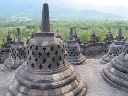 Bells atop Borobudur.