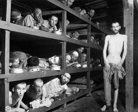 Slave Laborers at Buchenwald is a photograph by Private H. Miller.