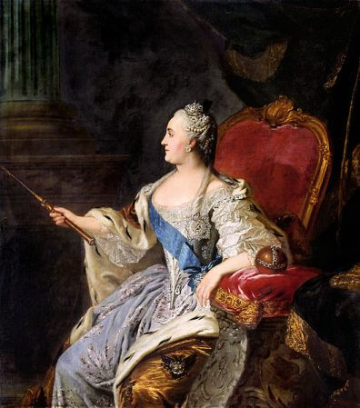 A portrait of Catherine the Great by Fyodor Rokotov in 1763. It is now in the Tretyakov Gallery in Moscow.