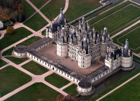 The Chateau de Chambord, seen here in an aerial view, is a fine example of French Renaissance architecture.