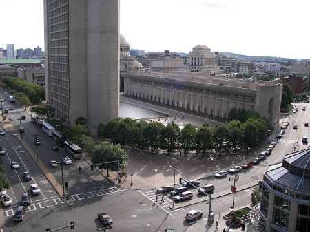 I.M. Pei's design for the Christian Science Church Plaza includes several buildings, fountains and a reflecting pool.