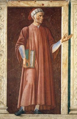 A portrait of Dante Aligheri by Andrea del Castagno in about 1450. It is a mural at the Uffizi Gallery, Florence.