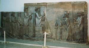 Darius relief at Persepolis c. 500 BCE