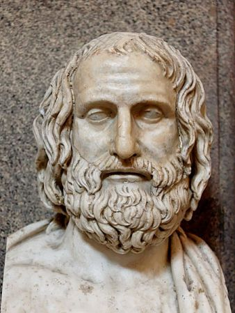 Bust of Euripides in the Museo Pio Clementino. It is a Roman marble copy of a 4th Century BCE Greek original.