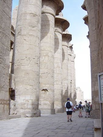The entrance to the Great Hypostyle Hall in the Precinct of Amun-Re, part of the Karnak Temple complex.