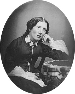 A photograph of Harriet Beecher-Stowe from about 1850.